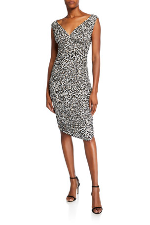 Norma Kamali Tara Leopard-Print V-Neck Sleeveless Dress
