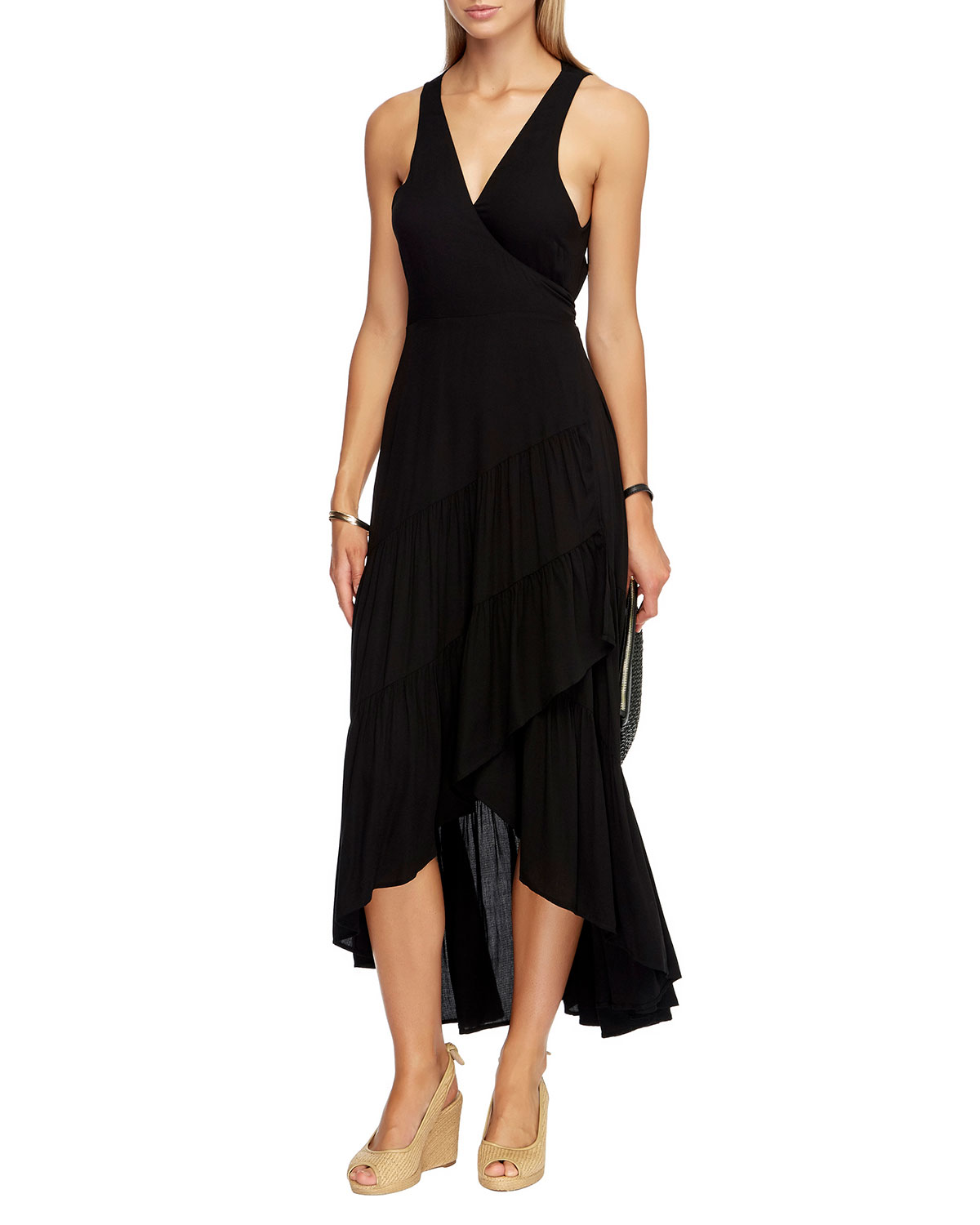 JETS by Jessika Allen Black Tiered High-Low Coverup Wrap Dress