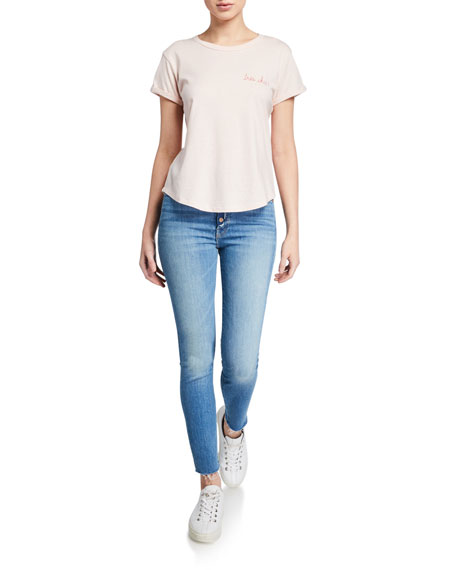 MOTHER The Fly Cut Stunner Ankle Fray Skinny Jeans