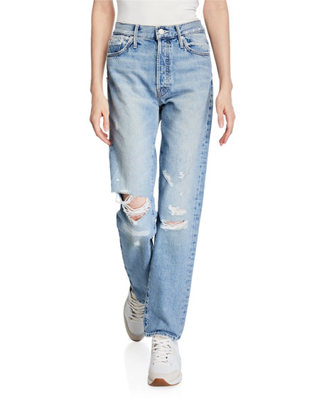 MOTHER The Trickster Straight-Leg Distressed Jeans