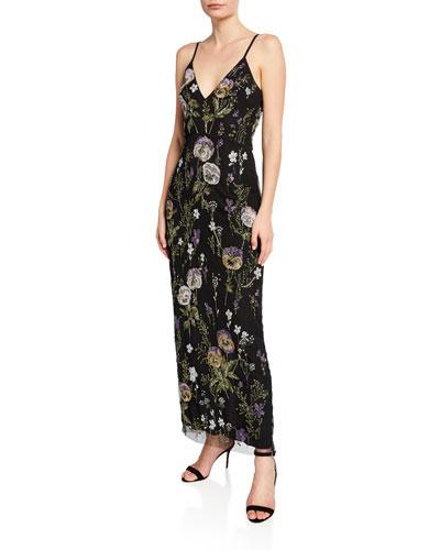 Liv Beaded Viola V-Neck Sleeveless Gown