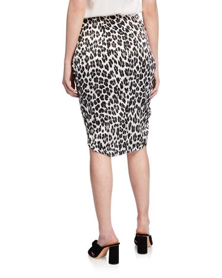 Caroline Constas Crossover Leopard-Print Skirt