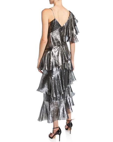 flor et.al Bowie Metallic Asymmetric Tiered Ruffle Midi Dress