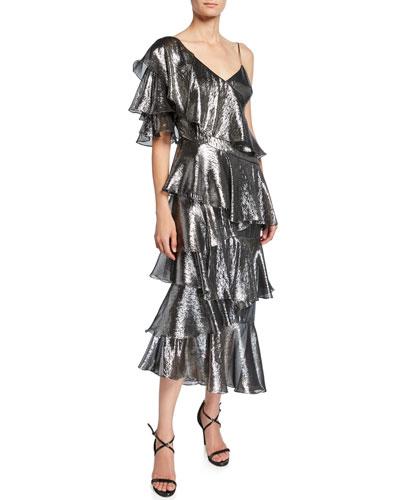 Bowie Metallic Asymmetric Tiered Ruffle Midi Dress
