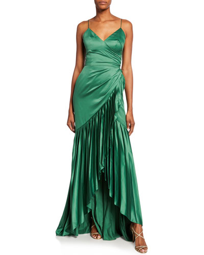 Sharona Charmeuse Cami Gown w/ Pleated Ruffle Skirt