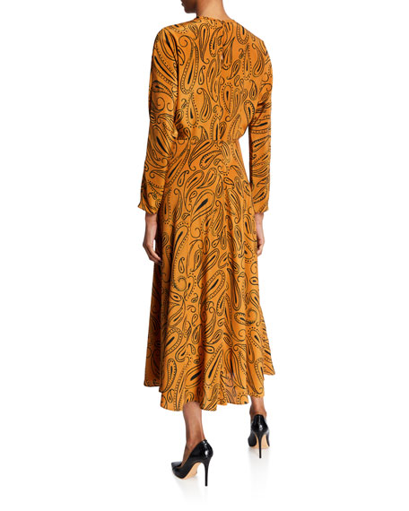 Aspesi Paisley-Print Long-Sleeve Midi Dress