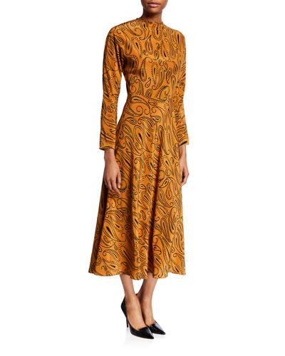 Paisley-Print Long-Sleeve Midi Dress