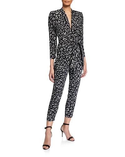 Kieran Printed Long-Sleeve Belted Jumpsuit