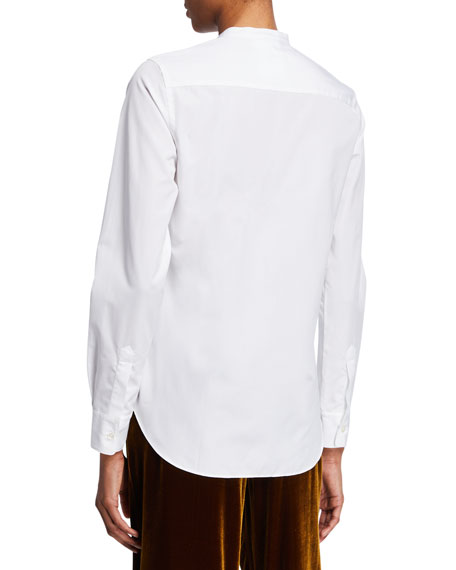 Aspesi Button-Front Poplin Shirt with Mandarin Collar