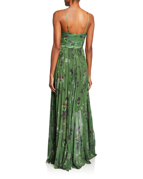 flor et.al Rachel Green Viola-Print Bustier Gown w/ Pleated Skirt