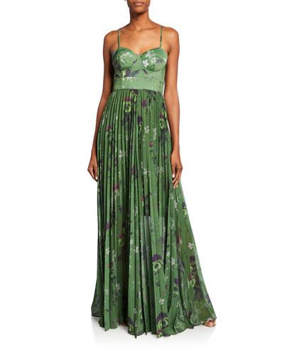 Rachel Green Viola-Print Bustier Gown w/ Pleated Skirt