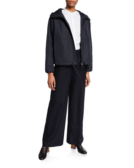 Aspesi Nylon Hooded Zip-Front Short Jacket