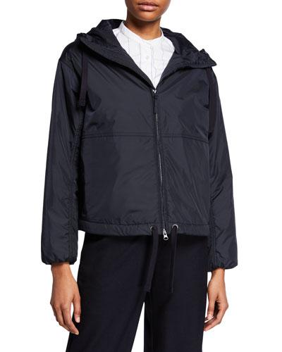 Nylon Hooded Zip-Front Short Jacket