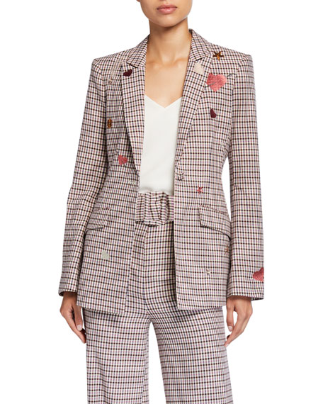 cinq a sept Estelle One-Button Check Blazer with Embroidery