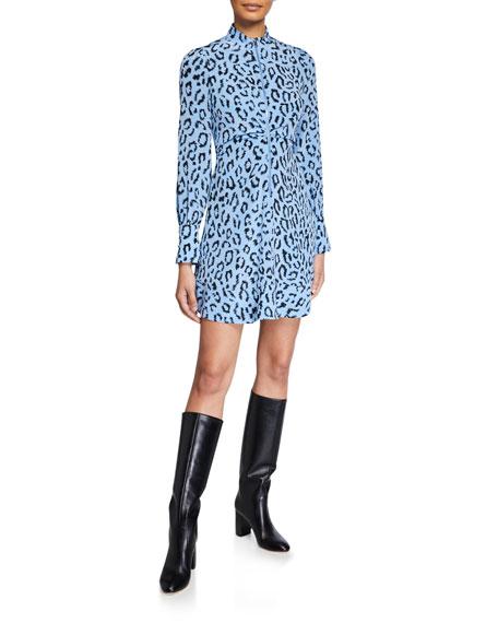 A.L.C. Marcella Zip-Front Leopard Short Dress