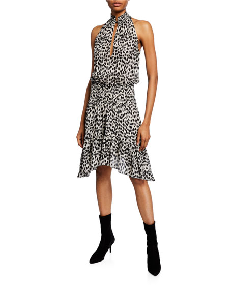 A.L.C. Cody Printed Silk Asymmetrical Dress