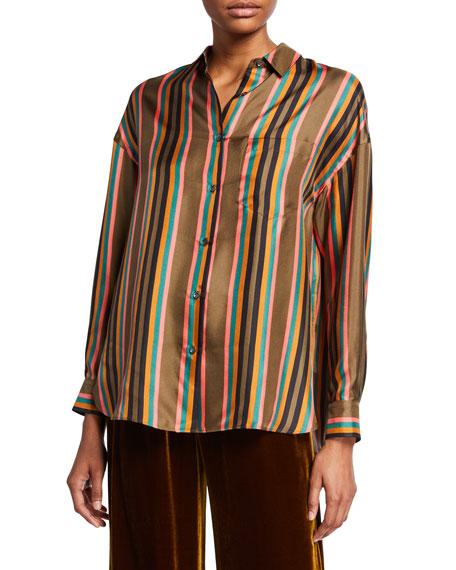 Aspesi Striped Button-Front Long-Sleeve Silk Twill Shirt