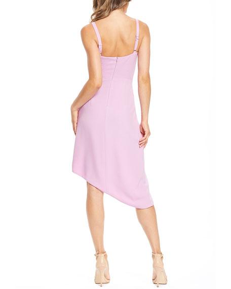 Dress The Population Owen V-Neck Sleeveless High-Low Crepe Cocktail Dress