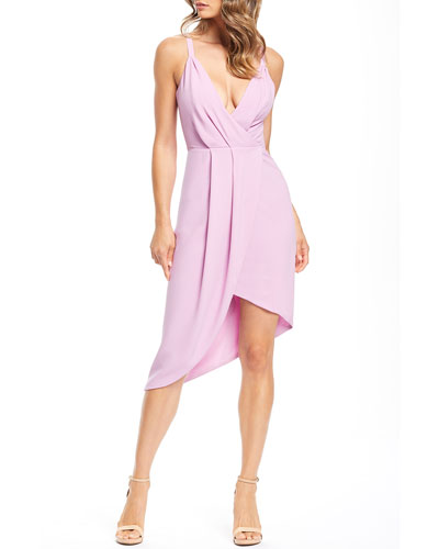 Owen V-Neck Sleeveless High-Low Crepe Cocktail Dress