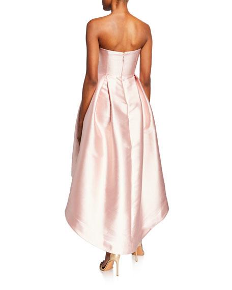 Parker Black Roxanne Strapless High-Low Bustier Satin Dress