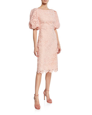797cc29729ead Badgley Mischka Collection Scallop-Lace High-Neck Balloon-Sleeve Cocktail  Dress