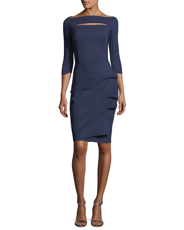 32d5d299 Chiara Boni La Petite Robe Slit-Neck 3/4 Sleeve Ruched Cocktail Dress
