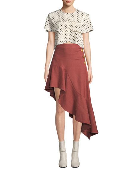 REJINA PYO Ella High-Waist Asymmetric Flounce Skirt