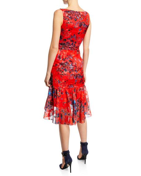 Marchesa Notte Burnout Floral-Print Sleeveless Chiffon Dress w/ Cascading Side Ruffle