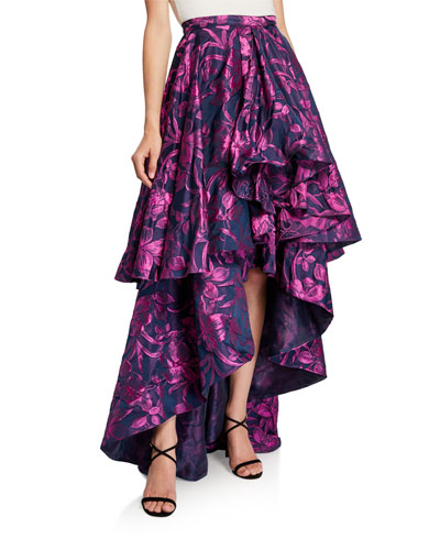 Talia Floral Jacquard Tiered High-Low Skirt