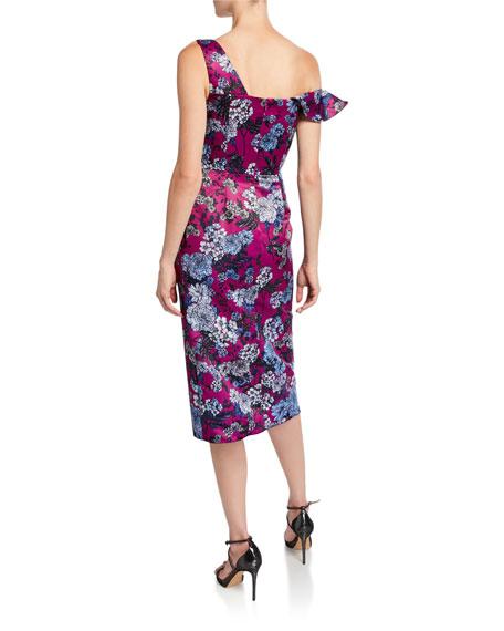 flor et.al Ella Floral-Print Asymmetric-Sleeve Cocktail Dress