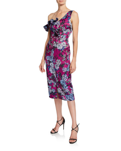 Ella Floral-Print Asymmetric-Sleeve Cocktail Dress