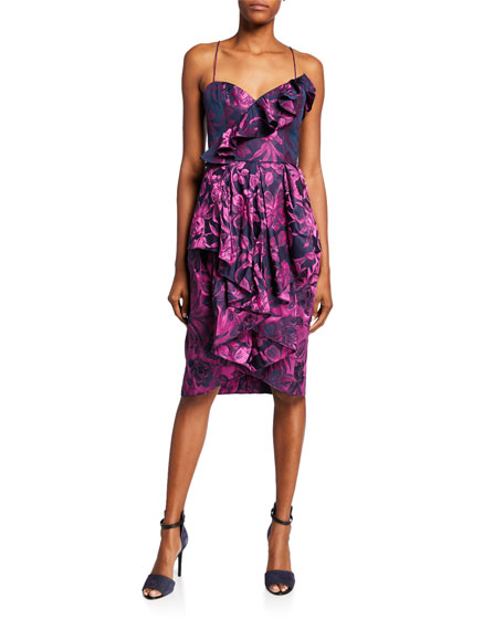 flor et.al Shelley Sweetheart Floral Jacquard Sleeveless Ruffle Dress