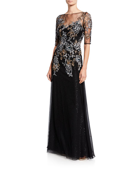 Rickie Freeman for Teri Jon Metallic Floral Embroidered Elbow-Sleeve Overlay Gown