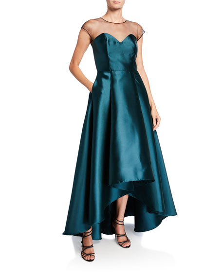 Sachin & Babi Kerri Cap-Sleeve High-Low Illusion Gown with Pockets
