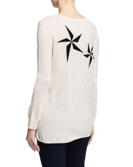 Neiman Marcus Cashmere Collection Metallic Star Crewneck Long-Sleeve Cashmere Sweater