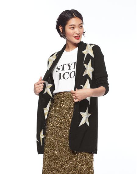 Neiman Marcus Cashmere Collection Cashmere Metallic Star Intarsia Open Cardigan