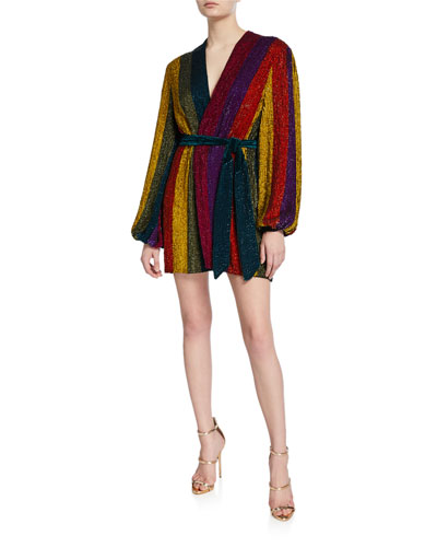 Gabrielle Sequin Rainbow-Striped Robe Dress