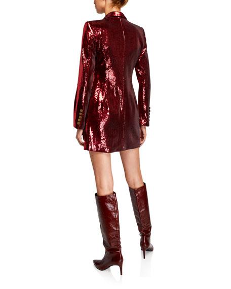 Retrofete Selena Sequin Double-Breasted Jacket Dress w/ Asymmetric Hem