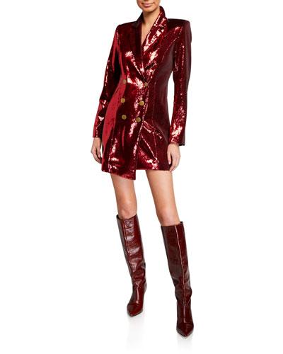 Selena Sequin Double-Breasted Jacket Dress w/ Asymmetric Hem