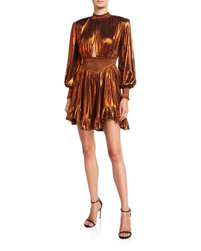 Melody Metallic Lame Bishop-Sleeve Ruffle-Hem Mini Dress