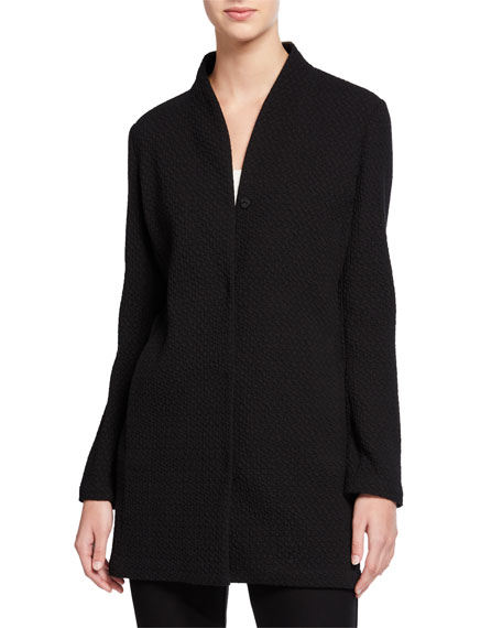 Eileen Fisher Chevron Button-Front Long Jacket with High-Collar