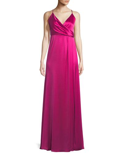 Satin Wrap Sleeveless April Slip Dress