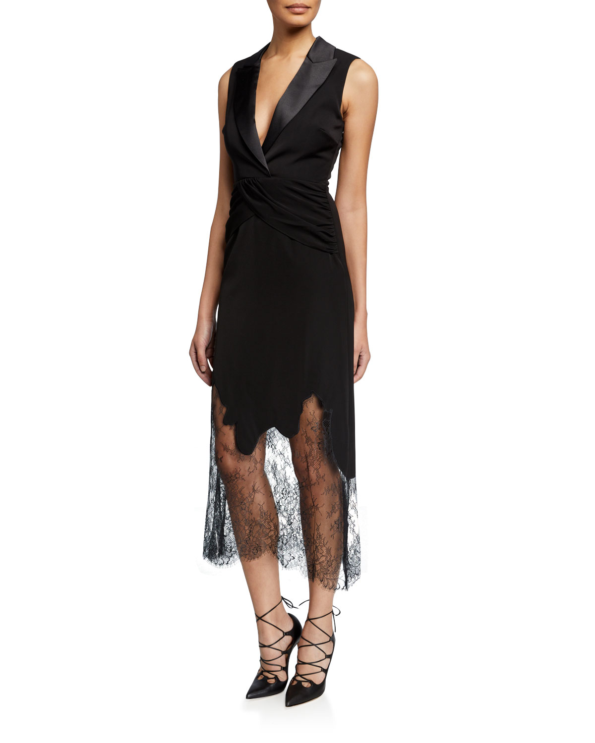 Sleeveless Tailored Cocktail Dress With Lace by Self Portrait