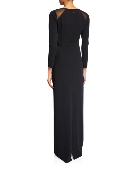 Halston V-Neck Long-Sleeve Crepe Gown with Embroidered Shoulder Insets