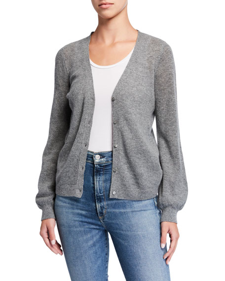 Majestic Paris for Neiman Marcus Cashmere Button-Front Cardigan with Puffy Sleeves
