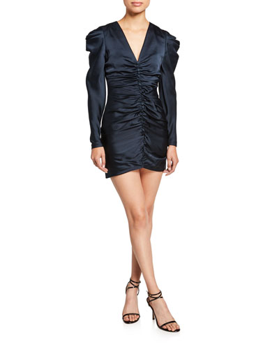 Crepe Back Satin Puff-Sleeve Cocktail Dress