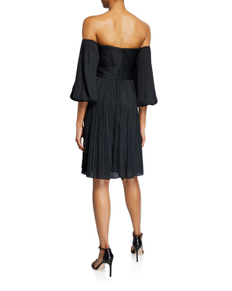 Halston Off-Shoulder Sweetheart Pleated Dress