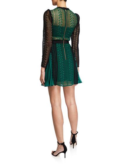Self-Portrait Geometric Lace Chiffon Mini Dress