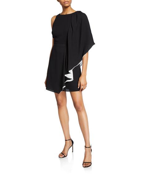 Halston Asymmetric Draped-Sleeve Flowy Dress
