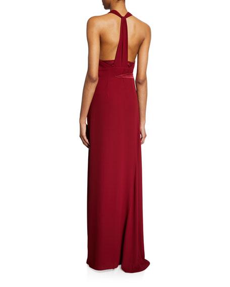Halston V-Neck Halter Gown